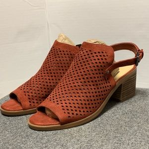 Marc Fisher Rust Perforated Open Toe Bootie 7